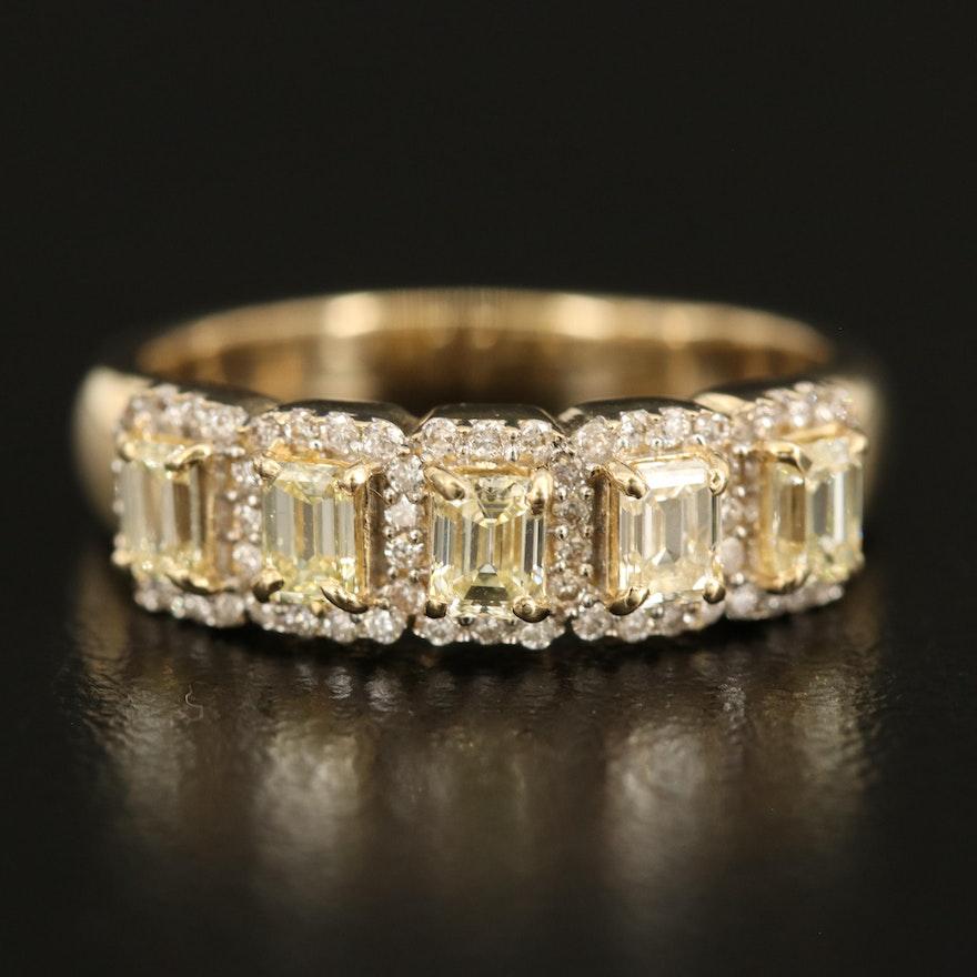 14K 0.92 CTW Diamond Ring with 0.25 CTW Diamond Halos