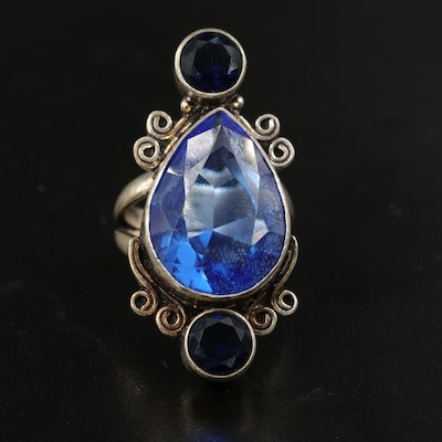 Sterling Glass Ring with Scrollwork Detail