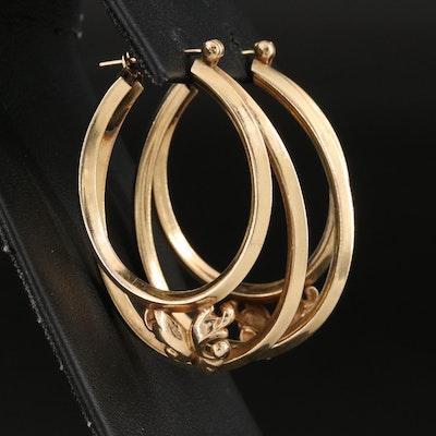 14K Knife-Edge Double Hoop Earrings with Ornamental Detail