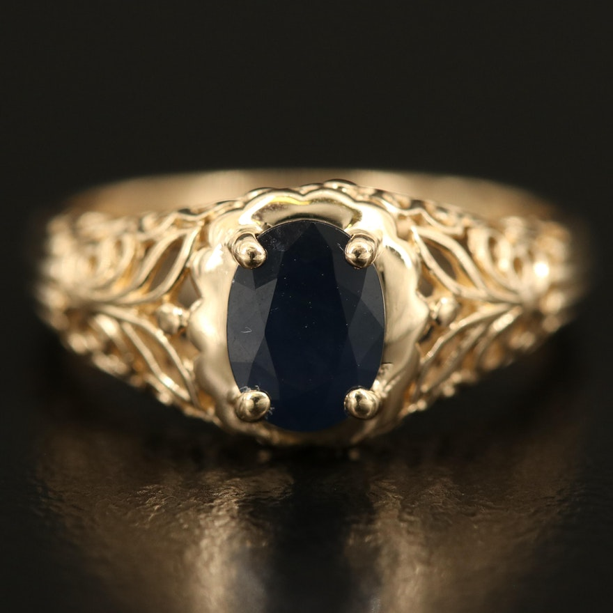 14K Sapphire Openwork Ring