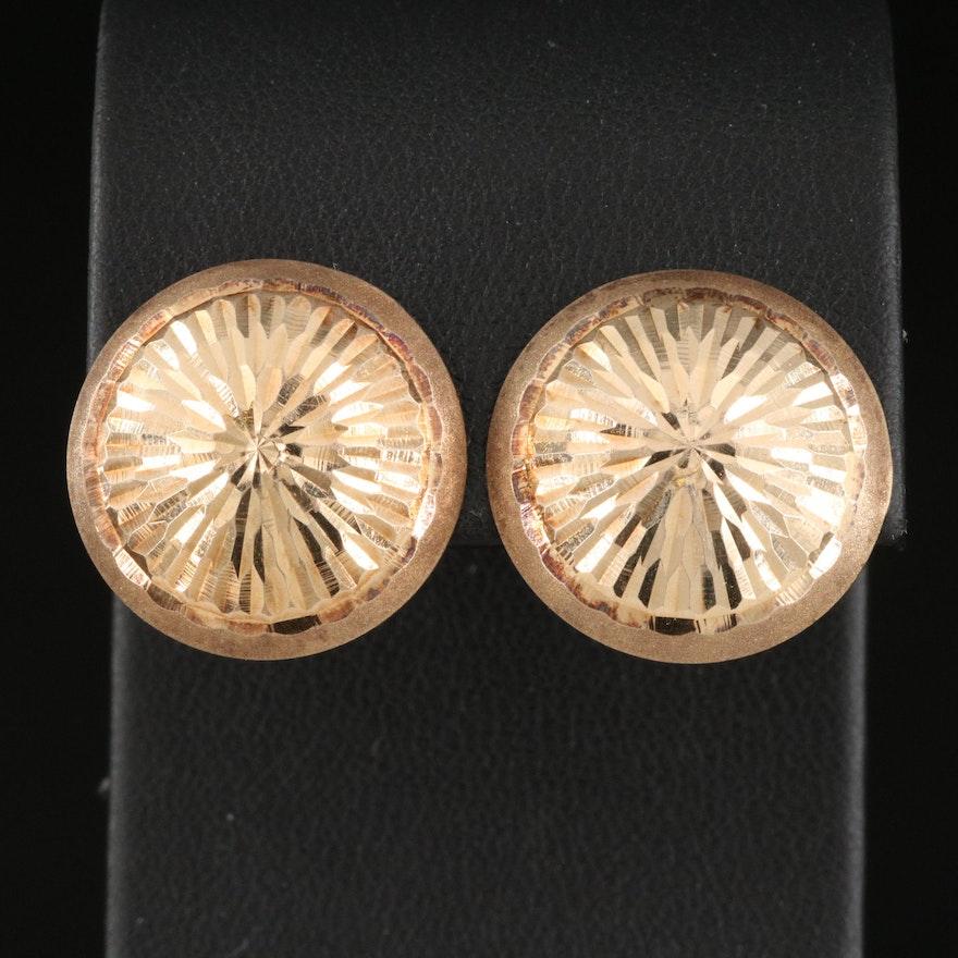 14K Diamond Cut Textured Button Earrings