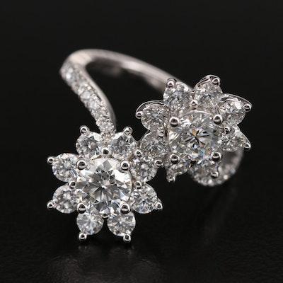 14K 2.01 CTW Diamond Floral Ring with IGI Report