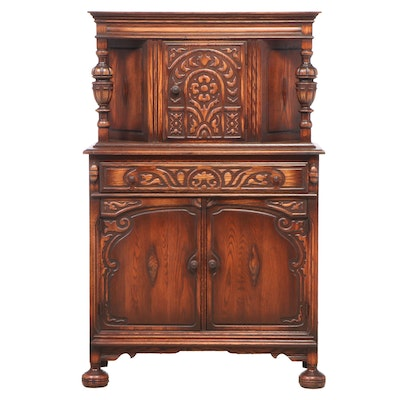 Jacobean Revival Carved Oak China Cabinet, Early 20th Century
