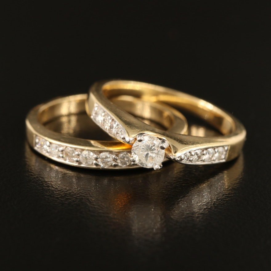 14K Ring Set with 0.30 CT Center and 0.45 CTW Side Diamonds