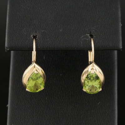 14K Peridot Teardrop Earrings
