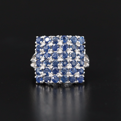 Sterling Silver Multi Row Sapphire Ring