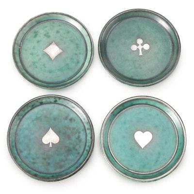 "Wilhelm Kåge for Gustavsberg ""Argenta"" Stoneware Coasters with Silver Overlay"