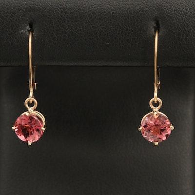 14K Pink Tourmaline Earrings