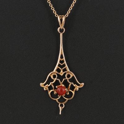 Art Nouveau 10K Carnelian Pendant Necklace