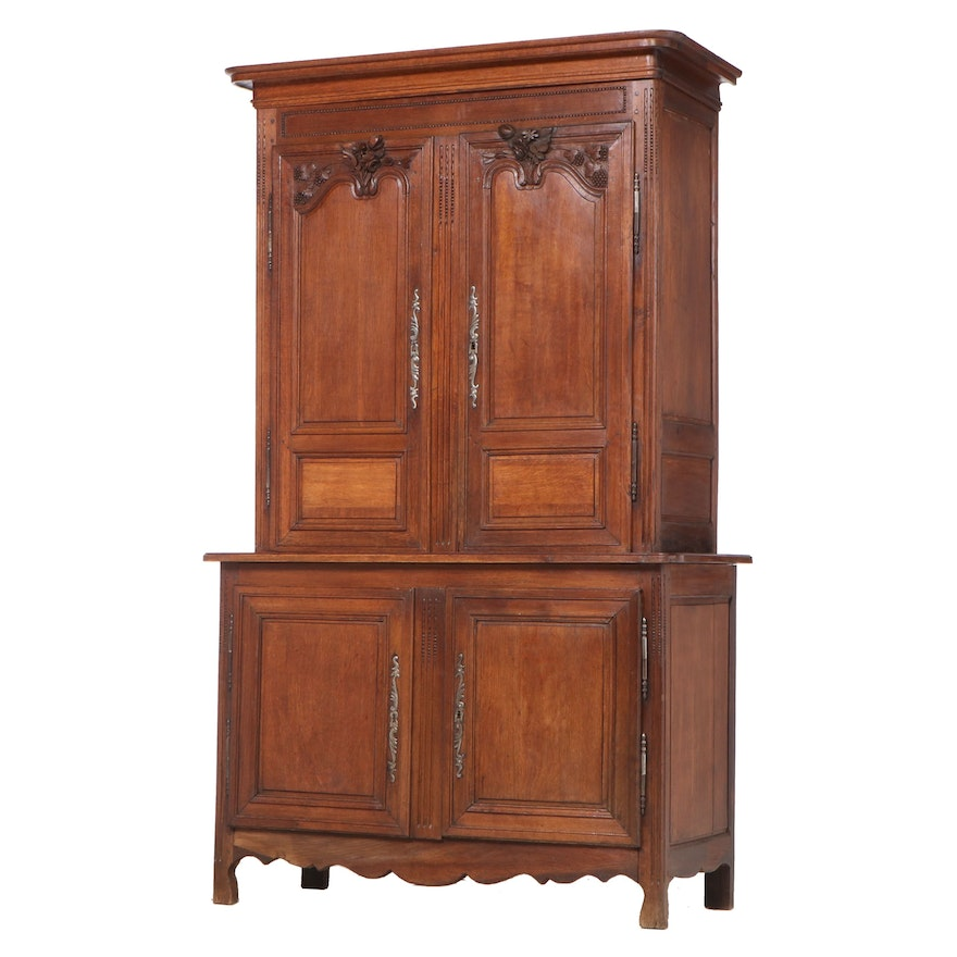 French Provincial Carved Oak Cabinet, Mid to Late 19th Century
