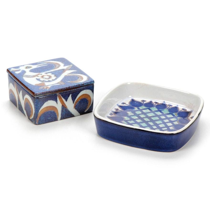 Royal Copenhagen Aluminia Faience Dish and Box