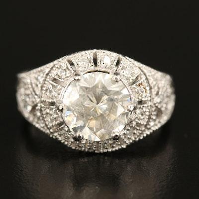 Platinum and Diamond Ring with 3.17 CT Center Diamond