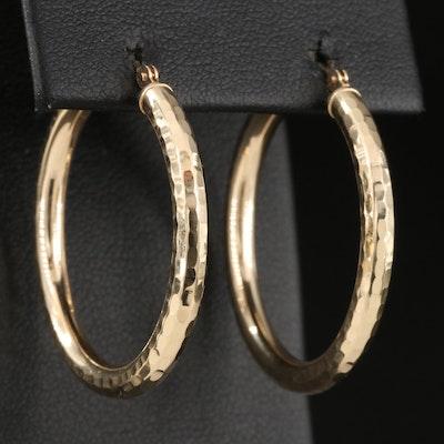 14K Hammered Hoop Earrings
