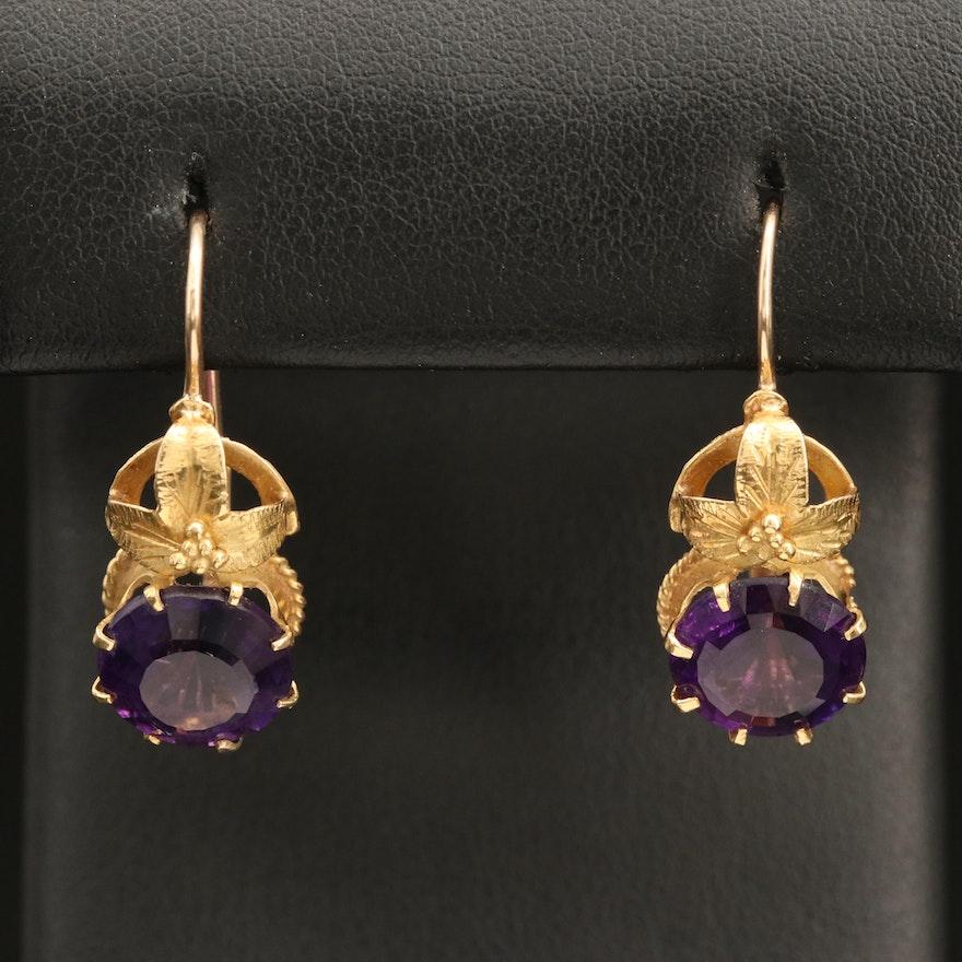 14K Amethyst Floral Earrings