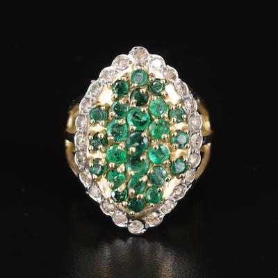 14K Emerald and Diamond Navette Ring