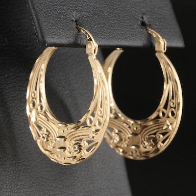 14K Diamond Cut Openwork Hoop Earrings