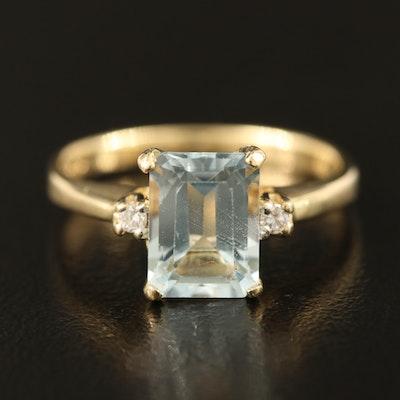 14K 1.25 CT Aquamarine and Diamond Ring