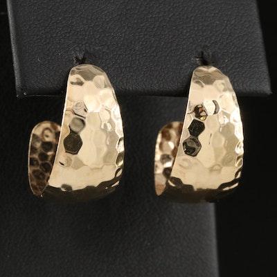 14K Hammered Tapered J-Hoop Earrings