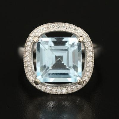 14K 5.59 CT Blue Topaz Ring with Diamond Halo