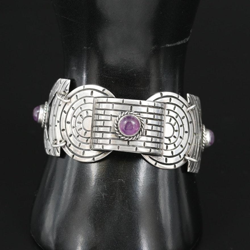 Mexican Sterling Silver Amethyst Brickwork Bracelet