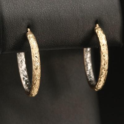 10K Textured Hoop Earrings