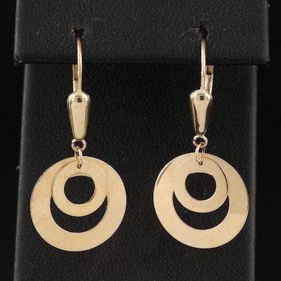 14K Double Circle Drop Earrings