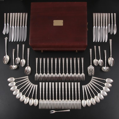 """Lunt """"Madrigal"""" and Other Sterling Silver Flatware in Flatware Chest"""