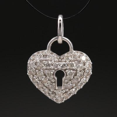 14K 0.55 CTW Pavé Diamond Heart Lock Pendant