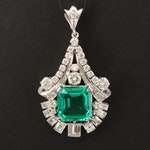 1950s Platinum Emerald and 1.82 CTW Diamond Pendant