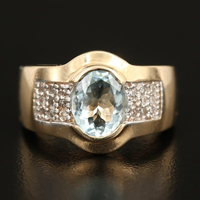 14K Oval Faceted 1.83 CT Aquamarine Ring with Diamond Filled Shoulders