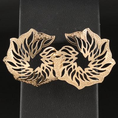 14K Flame Cut Out Earrings