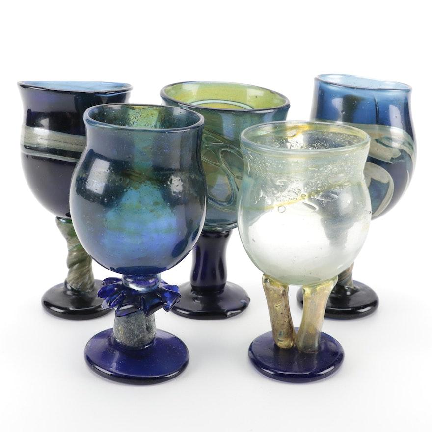 Blown Blue Art Glass Goblets