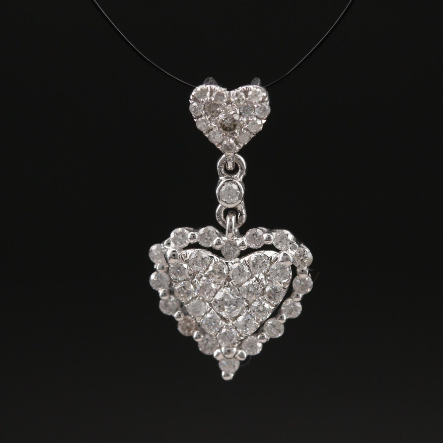 14K 0.42 CTW Pavé Diamond Heart Pendant