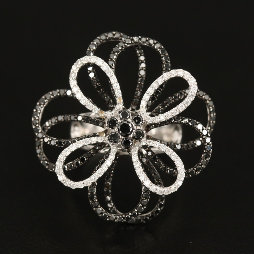 14K Diamond Openwork Flower Ring with Contrasting Black Diamonds