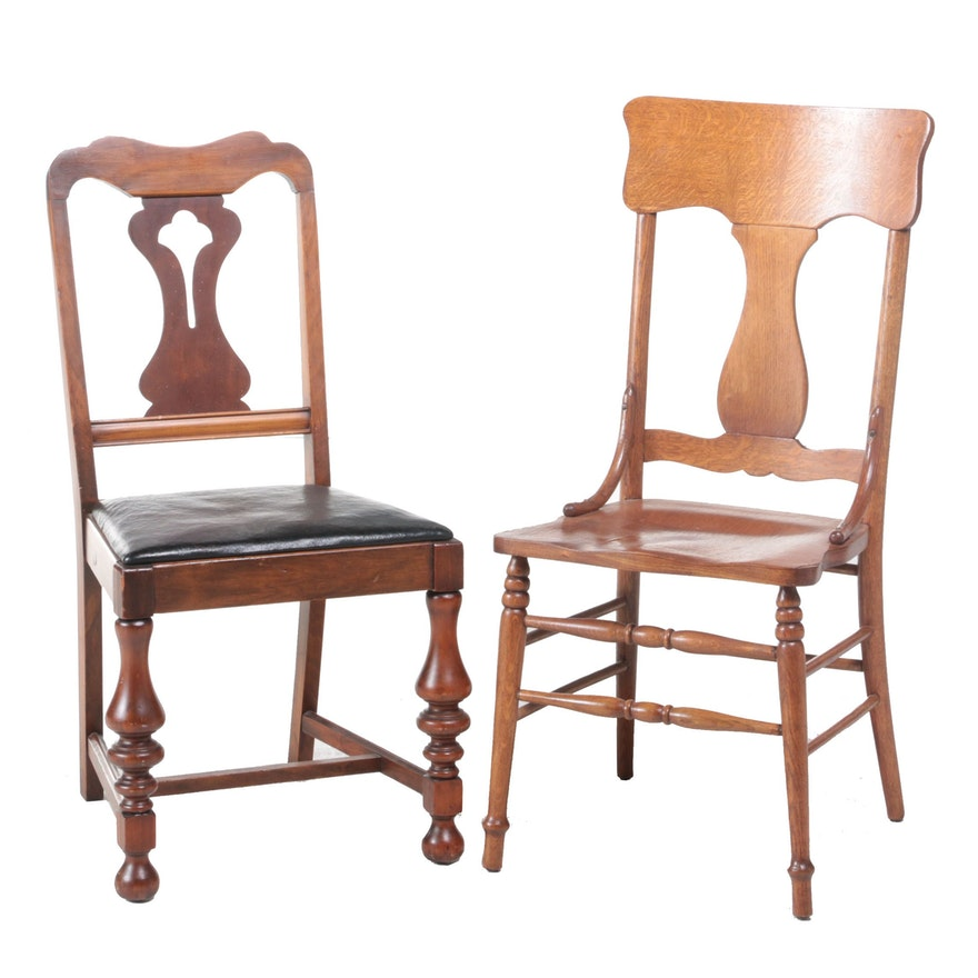 Oak and Walnut Side Chairs, Early 20th Century