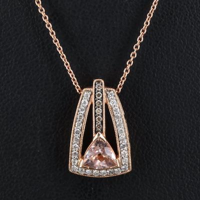 14K Morganite and Diamond Necklace