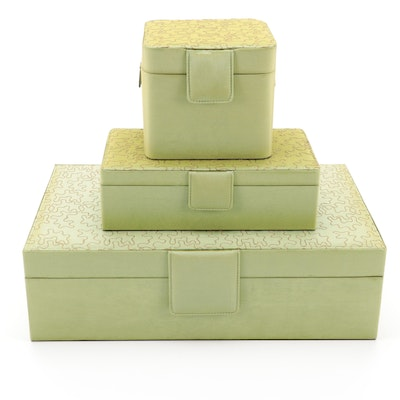Rowallan Puzzle Motif Chartreuse Polyester Jewelry and Vanity Organizers
