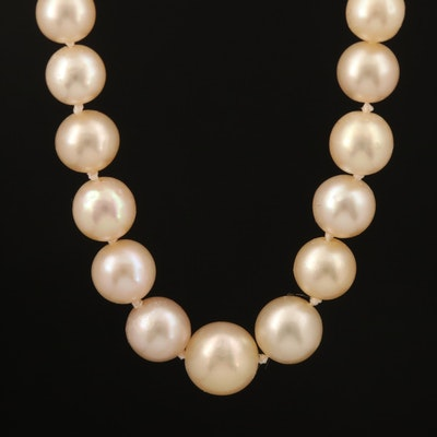 Vintage Natural Pearl Necklace with 0.36 CTW Diamond Clasp and GIA Report