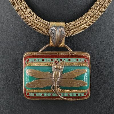 Art Deco Glass Dragonfly Pendant Necklace