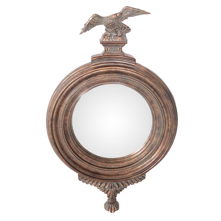 Federal Style Distressed Gold Tone Finish Convex Wall Mirror