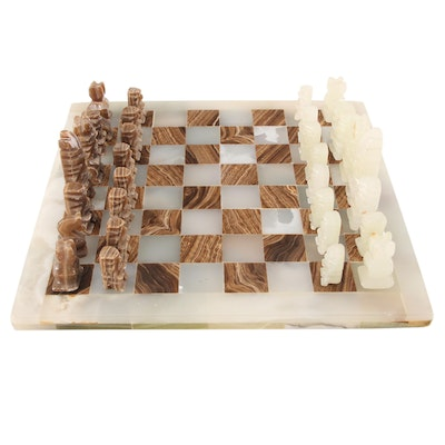 Puebla Style Carved Marble and Onyx Chess Set with Aztec Icons