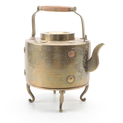 Chinese Hand-Chased Brass Kettle on Stand