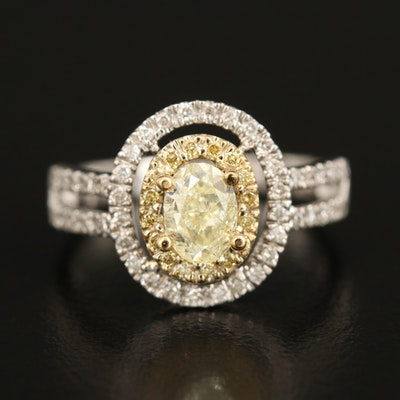 14K Diamond Double Halo Ring with Split Shoulders