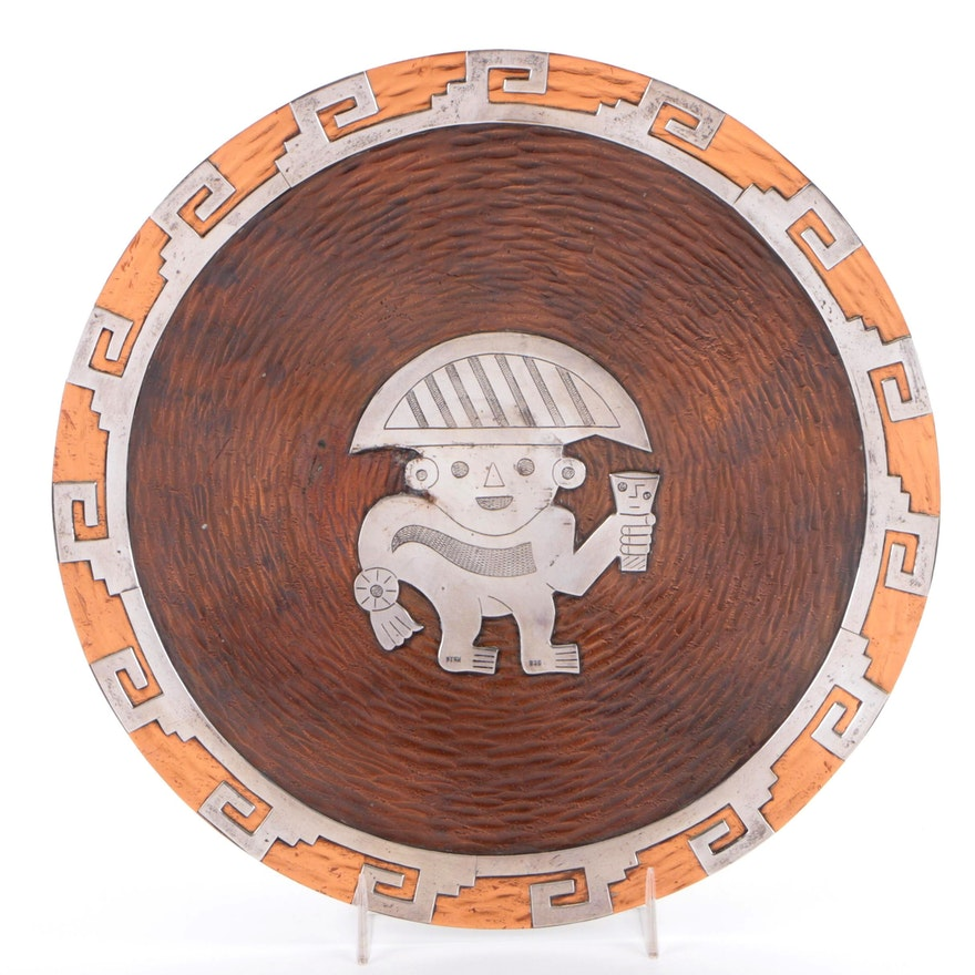 Peruvian Sterling Silver Over Copper Warrior Motif Wall Plate