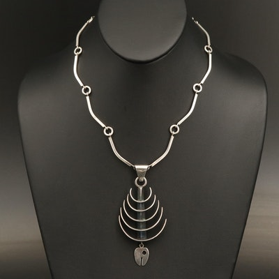 Taxco Mexican Modernist Alida Sterling Fish Bone Necklace