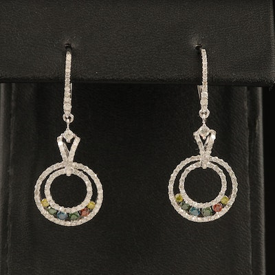 14K 0.71 CTW Colored Diamond and 0.86 CTW Diamond Concentric Earrings