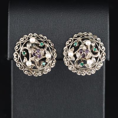14K Pearl and Garnet Glass Doublet Earrings