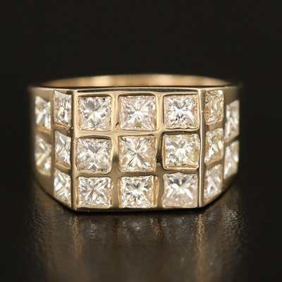 14K Square 4.09 CTW Diamond Ring