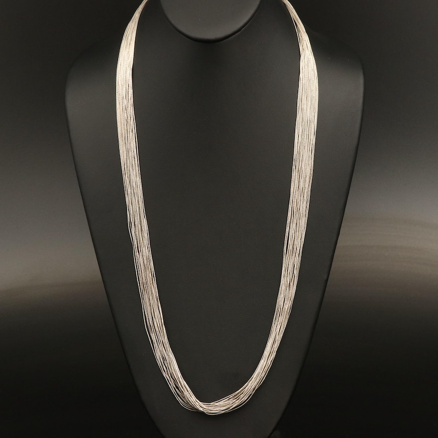 Sterling Liquid Silver Thirty Strand Necklace