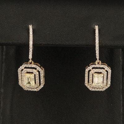 14K 1.30 CTW Center Diamond and 0.56 CTW Diamond Double Halo Earrings